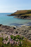 New Polzeath beach sea and coast Cornwall Royalty Free Stock Photo