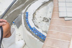 New pool border step tiles Stock Photography