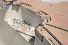 New pool brick coping work and repair Stock Photos