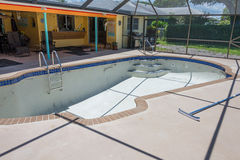 New pool tile border grout work remodel Stock Image