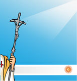 New pope with argentina flag Stock Image