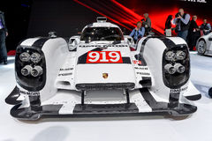 The new Porsche 919 at the 2014 Geneva Motorshow. The newPorsche 919 racing car at the 2014 Geneva Motorshow Royalty Free Stock Photography