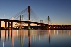 The New Port Mann Bridge at sunrise Stock Photos