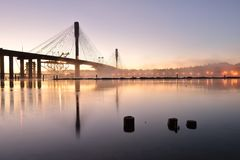 The New Port Mann Bridge at sunrise Stock Photography