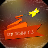 New possibilities. Change, positive inspirational, motivational concept. Plane flying up with message royalty free illustration