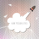 New possibilities. Change, positive inspirational, motivational concept. Rocket flying up. Handwritten text royalty free illustration
