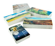 New postcards. Stacks of new postcards isolated on white. The cards are my production, I own copyrights to all the postcard images, no copyright infringement Royalty Free Stock Image
