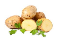 New potato and green parsley Stock Photos