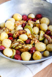 New potato with sausages and courgette cooked Royalty Free Stock Image