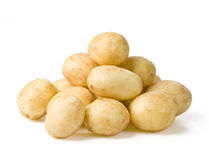 New potato. On white background close up with clipping path Royalty Free Stock Images