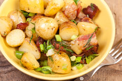 New potatoes with bacon Royalty Free Stock Images