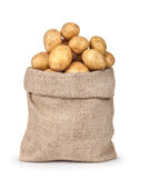 New potatoes in the bag. Isolated on white background Royalty Free Stock Photos