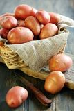 New potatoes in a basket. Stock Photo