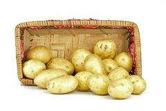 New potatoes in a basket Royalty Free Stock Photo
