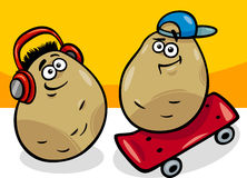 New potatoes potatoes cartoon illustration Stock Photography
