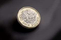 New pound coin on dark background Stock Photography