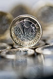 New pound coin introduced in Britain, front and bac Stock Photos