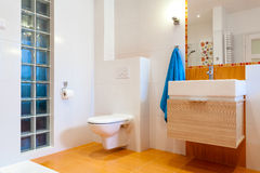 New practical bathroom in modern house. New practical bathroom in contemporary big house stock photo