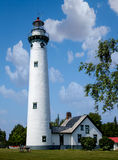 New Presque Isle Light House on Lake Huron Stock Photo
