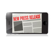 New press release phone news illustration design. Over a white background Royalty Free Stock Photos