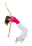 New pretty modern dancer teenage girl jumping dancing Stock Images