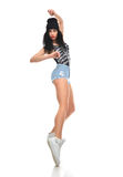 New pretty modern slim hip-hop style teenage girl dancer dancing Royalty Free Stock Photos
