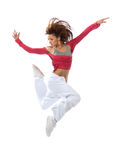 New pretty modern slim hip-hop style teenage girl jumping dancin Royalty Free Stock Images