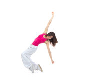 New pretty modern slim hip-hop style woman dancer break dancing Royalty Free Stock Photos