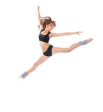 Modern slim stylish teenage girl jumping dancing Royalty Free Stock Photo
