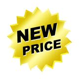 New Price Sign. Yellow new price sign - web button - internet design Stock Photos