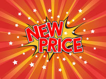 New Price, wording in comic speech bubble on burst background Royalty Free Stock Photo