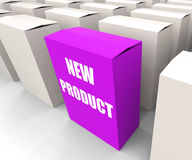 New Product Box Indicates Newness and Stock Photo