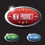 New product button set - red, green,blue Stock Photos