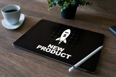 New product development business concept on device screen. royalty free stock images
