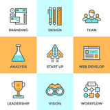 New product development line icons set Royalty Free Stock Photos