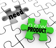 New Product FIlling Need Business Service Sell  Customers Puzzle. New Product words on a puzzle piece filling customer needs in a gap or underserved or unserved Royalty Free Stock Photos
