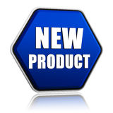 New product hexagon button. New product button - 3d blue hexagon banner with white text, business concept Stock Images