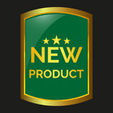 New product label. On black background, vector illustration Royalty Free Stock Photo