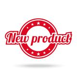 New product label. Red color, isolated on white. Royalty Free Stock Photo