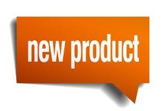 New product orange speech bubble. Isolated on white Royalty Free Stock Image