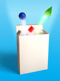 New product package. Basic geometrical shapes flying out of an open box. Digital illustration Royalty Free Stock Photography