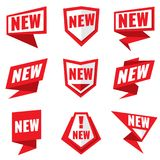 New product status vector labels. New status badge for product tag illustration Stock Photography