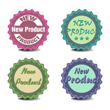 New product stickers. Set of four stickers with the text new product Royalty Free Stock Photos
