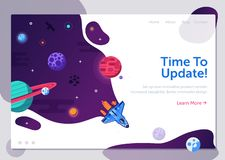 New Product Update Illustration. Product update illustration with space shuttle. Business start up or project launching web banner with rocket ship. Explore new stock illustration