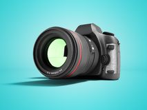 New Professional Zoom Camera 3d Render On Blue Background With Shadow Royalty Free Stock Photos