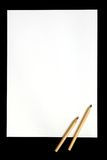 New project. Blank piece of paper with the pencils. For your imagination Royalty Free Stock Images
