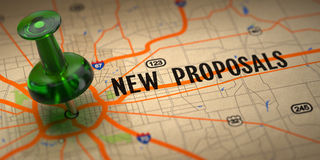 New Proposals - Green Pushpin on a Map Background. Royalty Free Stock Images