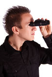 New prospects. A teenager looking through a spyglass. All isolated on white background Stock Photo