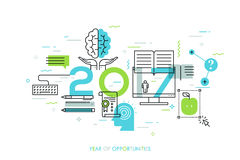 New prospects and predictions in internet courses, distance education, self-improvement, online training Royalty Free Stock Photo