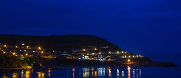 Blue Hour at New Quay Ceredigion royalty free stock photography